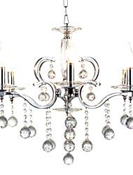 cheap -QINGMING® 6-Light 60cm(23.6inch) Crystal / Designers Pendant Light Metal Chrome Traditional / Classic 110-120V / 220-240V