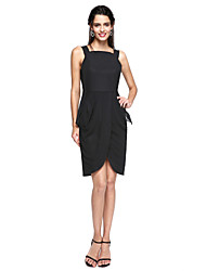 cheap -Sheath / Column Little Black Dress Celebrity Style Homecoming Cocktail Party Prom Dress Straps Sleeveless Knee Length Chiffon with Pleats Split Front 2020