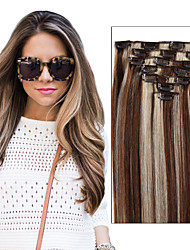 cheap -Febay Clip In Human Hair Extensions Straight Human Hair Brazilian Hair Medium Brown / Bleached Blonde