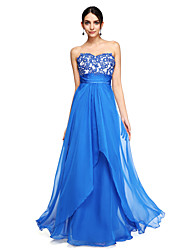 cheap -A-Line Elegant Prom Formal Evening Dress Sweetheart Neckline Sleeveless Floor Length Chiffon with Sash / Ribbon Ruched Beading 2021
