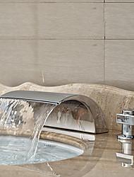 cheap -Art Deco/Retro Widespread Waterfall Ceramic Valve Two Handles Three Holes Chrome, Bathroom Sink Faucet