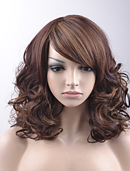 cheap -Synthetic Wig Loose Wave Loose Wave Bob With Bangs Wig Medium Length Brown Synthetic Hair Women's Highlighted / Balayage Hair Side Part Brown