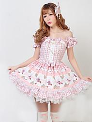 cheap -Princess Classic Lolita Dress Women's Girls' Japanese Cosplay Costumes Solid Colored Short Sleeve Medium Length