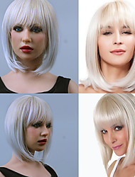 cheap -Synthetic Wig Straight Straight Bob With Bangs Wig White Synthetic Hair Women's White