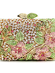 cheap -Women's Bags Metal Evening Bag Crystal / Rhinestone Floral Print Wedding Party Event / Party Evening Bag Wedding Bags Golden
