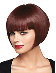 cheap -Synthetic Wig Straight Yaki Straight Yaki Bob With Bangs Wig Dark Brown Synthetic Hair Women's Red