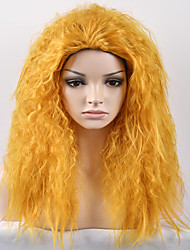 cheap -Synthetic Wig Afro Kinky Curly Kinky Curly Afro Wig Medium Length Yellow Synthetic Hair Women's Yellow