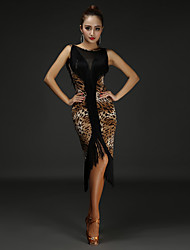 cheap -Latin Dance Dress Tassel Splicing Women's Performance Sleeveless Natural Chinlon Cotton