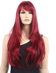 cheap -Synthetic Wig Wavy Wavy With Bangs Monofilament L Part Wig Long Dark Wine Synthetic Hair Women's Heat Resistant Red