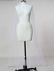 cheap -One-tier Wedding Veil Chapel Veils with Rhinestone Tulle / Classic