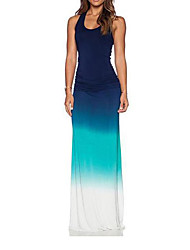 cheap -Maxi Dress Women's Sophisticated Dress Solid Colored Blue U Neck Light Blue M L XL / Slim