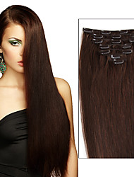 cheap -Febay Clip In Human Hair Extensions Straight Human Hair Medium Brown / Bleached Blonde