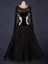 cheap -Ballroom Dance Dresses Women's Performance Organza / Velvet Appliques / Splicing / Crystals / Rhinestones Long Sleeve Natural Dress
