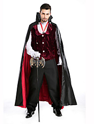 cheap -Vampire Men's Christmas Halloween Carnival Festival / Holiday Polyester Men's Carnival Costumes Solid Colored / Gloves / Cloak