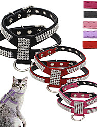 cheap -Cat Dog Harness Leash Adjustable / Retractable Sequins Vest Mosaic Rhinestone PU Leather Rose Red Pink