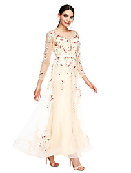 cheap -Sheath / Column Pastel Colors Prom Formal Evening Dress Illusion Neck Long Sleeve Ankle Length Tulle with Sash / Ribbon Bow(s) Beading 2020 / Illusion Sleeve