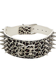 cheap -Cat Dog Collar Adjustable / Retractable Studded Rock Music PU Leather Black Leopard White