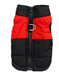 cheap -Dog Vest Dog Clothes Solid Colored Red Cotton Costume For Winter Men's Women's Casual / Daily Keep Warm With Leash