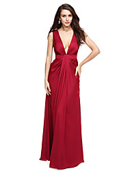 cheap -Sheath / Column Formal Evening Dress V Neck Sleeveless Floor Length Satin Chiffon with Draping 2021
