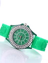 cheap -Women's Wrist Watch Diamond Watch Quartz Silicone Black / White / Blue Imitation Diamond / Analog Ladies Sparkle Fashion - Blue Pink Light Blue One Year Battery Life / Tianqiu 377