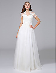 cheap -A-Line V Neck Floor Length Lace Over Tulle Short Sleeve Open Back Made-To-Measure Wedding Dresses with Beading / Appliques / Sash / Ribbon 2020