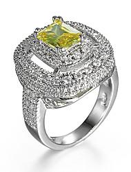 cheap -Women's Ring AAA Cubic Zirconia Yellow Zircon Cubic Zirconia Alloy Wedding Engagement Jewelry