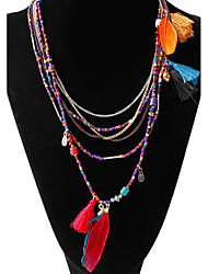 cheap -Chain Necklace Beaded Necklace Long Necklace Women's Beaded Tassel Fringe Pom Pom Turquoise Resin Feather Assorted Color Black Blue Feather Ladies Tassel Bohemian Native American Color Boho Assorted