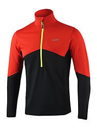 abordables -Arsuxeo Homme Mosaïque Spandex Tee-shirt de Course Running Hiver Fitness Entraînement de gym Exercice Chaud Doux Bandes Réfléchissantes Tenue de sport Grandes Tailles Haut Zippé Manches Longues