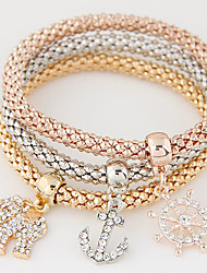 cheap -Women's Charm Bracelet Layered Stack Elephant Animal Anchor Luxury European Simple Style Fashion Multi Layer Rhinestone Bracelet Jewelry Rainbow For Gift Daily / Imitation Diamond