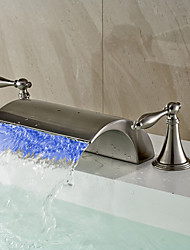 cheap -Bathroom Sink Faucet - Waterfall / Widespread / LED Nickel Brushed Widespread Two Handles Three HolesBath Taps / Brass