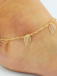 cheap -Women's Anklet Barefoot Sandals Chains Roses Leaf Flower Dainty Ladies Basic Double-layer Bikini Anklet Jewelry Golden For Wedding Party Daily Beach / Leg Chain