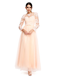 cheap -A-Line Prom Formal Evening Dress Illusion Neck Long Sleeve Ankle Length Tulle with Sash / Ribbon Bow(s) Buttons 2020 / Illusion Sleeve