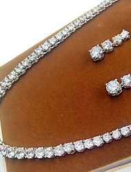 cheap -Women's Cubic Zirconia High End Crystal Jewelry Set Zircon, Cubic Zirconia Ladies Include Silver For Wedding Party Masquerade Engagement Party Prom Promise / Earrings / Necklace
