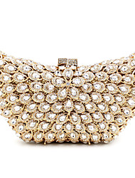 cheap -Women's Bags Metal Evening Bag Crystal / Rhinestone Flower Floral Print for Wedding / Party / Event / Party Golden / Lilac-pink / Gold / Rhinestone Crystal Evening Bags