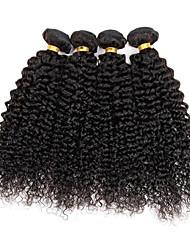 cheap -4 Bundles Brazilian Hair Kinky Curly / Curly Weave Human Hair Natural Color Hair Weaves Human Hair Weaves Human Hair Extensions