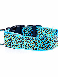 cheap -Cat Dog Collar LED Lights Adjustable / Retractable Rechargeable Leopard Nylon Purple Orange Yellow
