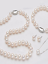 cheap -Women's Pearl Jewelry Set European Pearl Earrings Jewelry White For Daily