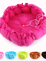 cheap -Cat Dog Bed Soft Pet Mats & Pads Cotton Solid Colored Pink Rose Coffee