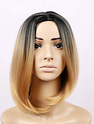 cheap -Synthetic Wig Straight Straight Bob Wig Blonde Short Golden Blonde Synthetic Hair Women's Middle Part Bob Blonde