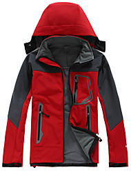 cheap -Men's Hiking Fleece Jacket Outdoor Waterproof Thermal / Warm Windproof UV Resistant Spring Fall Winter Fleece Softshell Jacket Softshell Jacket Top Skiing Camping / Hiking Leisure Sports Red Coffee