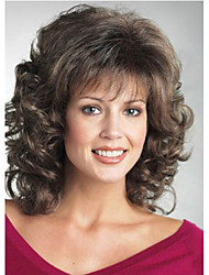 cheap -Synthetic Wig Curly Curly Wig Medium Length Brown Synthetic Hair Brown