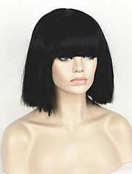 cheap -fashion wig women s short bob kinky straight full bangs synthetic hairpieces black cosplay wig