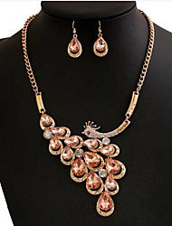 cheap -Women's Crystal Jewelry Set Peacock Ladies Rhinestone Earrings Jewelry White / Champagne For Wedding Party Daily