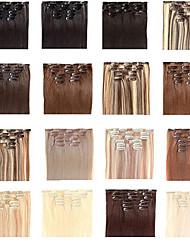 Недорогие -Прямой Искусственные волосы 22 дюймы Наращивание волос На клипсе Клип во / на Жен. Повседневные