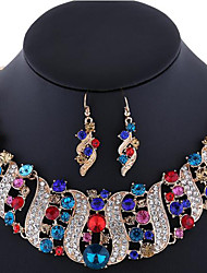cheap -Women's Sapphire Crystal Citrine Jewelry Set Statement Necklace Earrings Rainbow Ladies Luxury Bohemian Boho Elegant Indian Rhinestone Rose Gold Plated Imitation Diamond Earrings Jewelry Pink