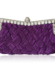 cheap -Women's Bags Satin Evening Bag Crystal / Rhinestone Wedding Bags Party Event / Party Black Purple Red Fuchsia