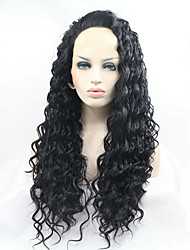 cheap -Synthetic Lace Front Wig Kinky Curly Kinky Curly Lace Front Wig Natural Black Synthetic Hair Women's Natural Hairline Black