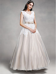 cheap -A-Line Wedding Dresses V Neck Floor Length Lace Satin Tulle Cap Sleeve Vintage Illusion Detail with Lace Sash / Ribbon Button 2020