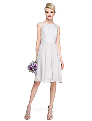 cheap -A-Line Jewel Neck Knee Length Chiffon / Lace Bridesmaid Dress with Pleats