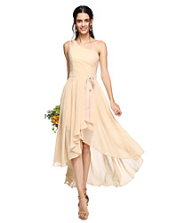cheap -A-Line One Shoulder Asymmetrical Chiffon Bridesmaid Dress with Bow(s) / Sash / Ribbon / Pleats by LAN TING BRIDE® / Open Back